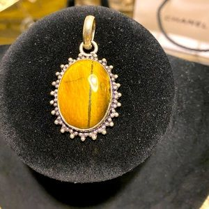 Gorgeous gemstone and real silver handmade pendant